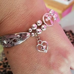 Gently used stretch silver color bracelet